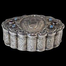 Antique German Hanau Jeweled 800 Silver Bishop's Box Snuff/Rosary w/Crest Catholic