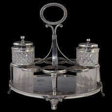 1812 George III Sterling Silver Cruet Stand Adams Style Georgian