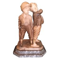 """Antique Italian Carved Alabaster Sculpture """"Two Boys Fighting"""" Children"""
