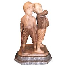 "Antique Italian Carved Alabaster Sculpture ""Two Boys Fighting"" Children"