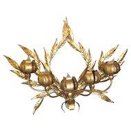 Vintage Italian Gold Leaf 5 Light Wall Sconce Metal leaves & Lighted Flowers Tole