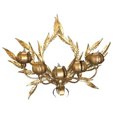 Vintage Italian Gold Leaf 5 Light Wall Sconce Metal leaves & Lighted Flowers Tole