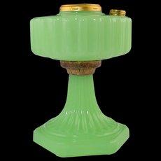 Vintage Aladdin Green Moonstone Corinthian Oil Kerosene Lamp