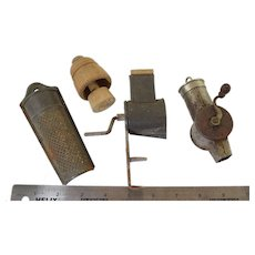 Antique Nutmeg Grater Lot w/Miniature Butter Mold 4pcs Old Kitchen Utensils