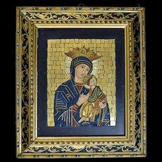 Vintage Vatican Micromosaic Icon Madonna & Child Studio Del Mosaico Micro Mosaic