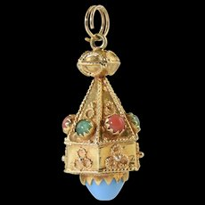 Vintage 18k Gold Etruscan Lantern Charm Jeweled Coral Turquoise & Jade