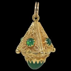 Vintage 18k Gold Etruscan Lantern Shape Jeweled Charm w/Green Stones