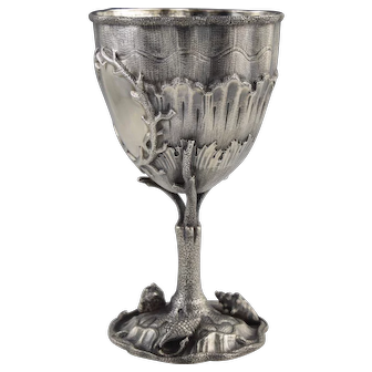 Rare! Sea Life Aesthetic Sterling Goblet Chalice w/Shells & Coral Figural Silver