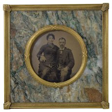 Antique Brass & Stone Marble Picture Frame Victorian w/Tin Type Photo