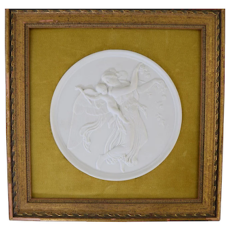 Bing & Grondahl Bisque Parian Classical Plaque w/ Angel & Putti #1