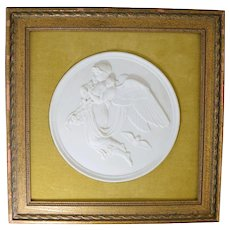 Bing & Grondahl Bisque Parian Classical Plaque w/ Angel & 2 Babies #2
