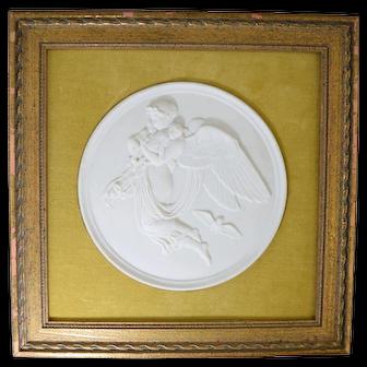 Bing & Grondahl Bisque Parian Classical Plaque w/ Angel & 2 Babies #2
