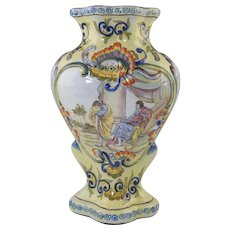 Fourmaintraux Frères French Faience Vase w/Painted Scene 11.25""