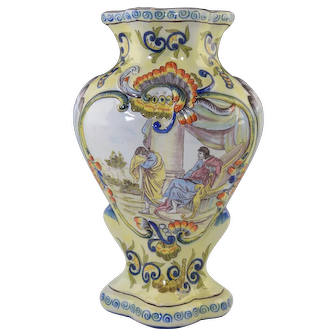 """Fourmaintraux Frères French Faience Vase w/Painted Scene 11.25"""""""