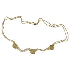 "14K Gold Necklace w/Three Ancient Greek Style Coins & Chains 16"" 14.4g"