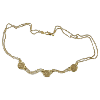 """14K Gold Necklace w/Three Ancient Greek Style Coins & Chains 16"""" 14.4g"""