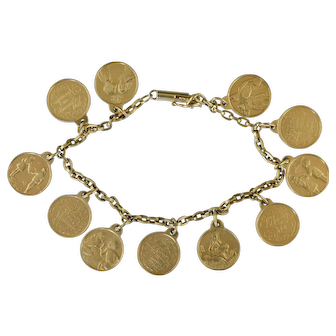 """Vintage 14K Gold Charm Bracelet w/French Months of Year Charms """"L'Amour et"""" 25.0 grams"""