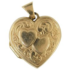 Vintage 14k Gold Heart Locket Charm for 2 photos