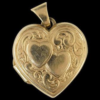 Vintage 14k Gold Heart Locket Charm for 2 photos