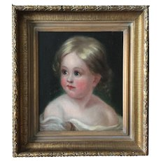School of Thomas Sully Portrait of Child mid 19th Century Antique American Philadelphia