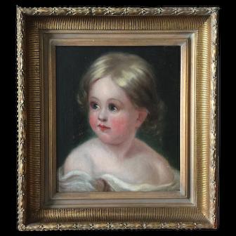School of Thomas Sully Portrait of Child mid 19th Century Antique American Philadelphia