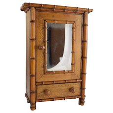 Antique Bamboo & Maple Miniature Doll Wardrobe Cabinet for Fashion Dolls