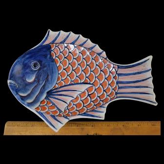 "Antique 19thC Imari Porcelain Fish Dish/Plate 9 1/4"" Japanese Signed"