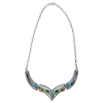 """Signed """"MT Sterling"""" Zuni Inlaid Stone Necklace Turquoise Coral Onyx MOP & more!"""