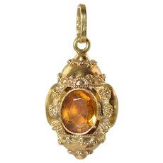 Vintage 18k Gold Etruscan Lantern Charm w/Citrine Stones 5.5g Italian