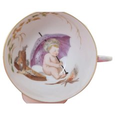 Antique Limoges Porcelain Cup & Saucer w/Hand Painted Cherub Child by Fire Inside Cup!