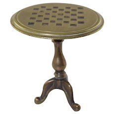 Antique Brass Tilt Top Miniature Doll Table w/Checkerboard Top Candle Reflector