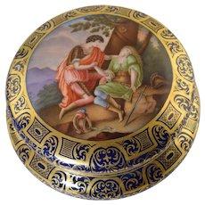 Antique Dresden Hand Painted Porcelain Box w/Mythological Scene Man & Woman