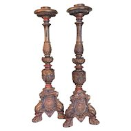 "Rare Armor Bronze Clad Alter Style Candlesticks Huge 25 3/4"" Tall Original Paint"