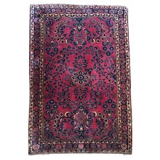 """Vintage Persian Rug Deep Maroon Color Hand Knotted 3'3"""" by 4'8"""""""