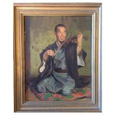 Gleb Ilyin (Russian American 1889-1968) Japanese Violinist Portrait Painting