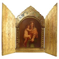 "Large Italian Florentine Triptych Icon Madonna & Child 15.5"" x 18.75"""