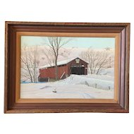 Ward E. Herrmann (American 1920-2009) Painting Hamden Covered Bridge Delaware County NY