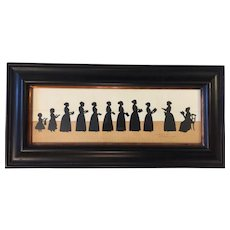 Wendy Schultz Wubbels Silhouette 11 Figure Group Paper Cut 1999 Williamsburg Va Artist