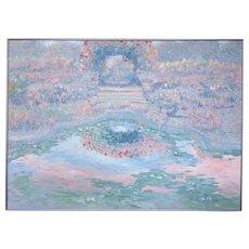 Greg Singley Original Painting Large Impressionist Garden Flowers & Pond c1990