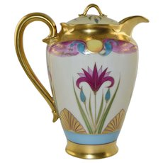 Rare Pickard Egyptian Art Nouveau Lindner Chocolate Pot Haviland Porcelain