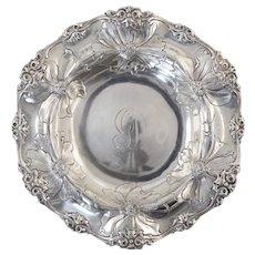 """Antique Gorham Art Nouveau Bowl Repousse Flowers 6 3/4"""""""