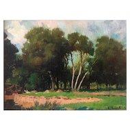 Armando E. Repetto (Argentina 1893-1968) 1953 Oil Landscape Painting Trees