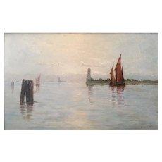 Frank Waller (American/New York 1842-1923) Venetian Boat Scene Oil on Board