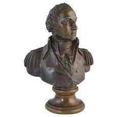 Antique 19thC George Washington in Uniform Bronze Bust Incredible Detail