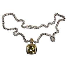 "David Yurman 18k Sterling Silver Citrine Enhancer/Pendant w/16"" 925 Wheat Chain"