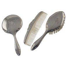 Vintage German 835 Silver Childs/Doll Dresser Vanity Set Brush Comb Mirror