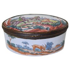 Antique Battersea Enamel Snuff Patch Box w/Painted Hunt Scene
