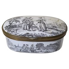Antique Battersea Enamel Snuff Box w/Printed Black 18th Century Pastoral Scenes