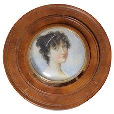 Antique Georgian Patch Box w/Miniature Portrait Burl Wood