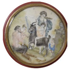 Antique 18th Century Snuff Box w/Miniature Painting Scene Satyr Goat & Woman Portrait